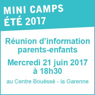 Réunion d'info Parents Enfants mini camps - 21 juin 2017 à 18h30